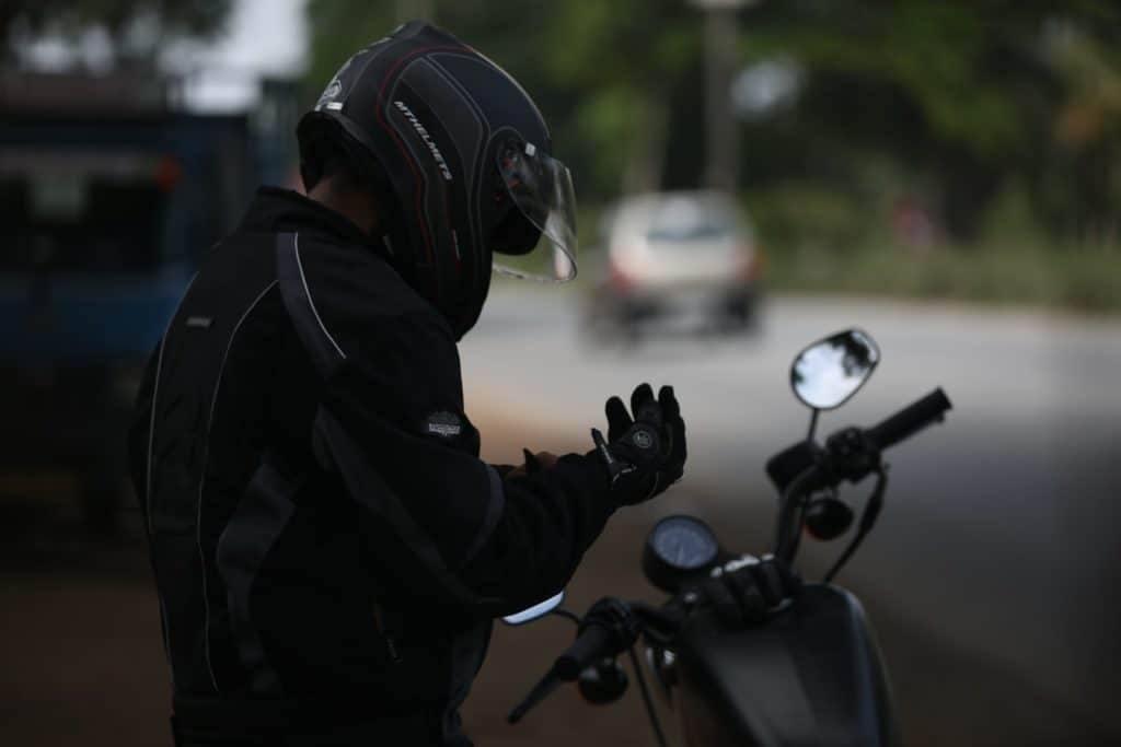 A person wearing a helmet