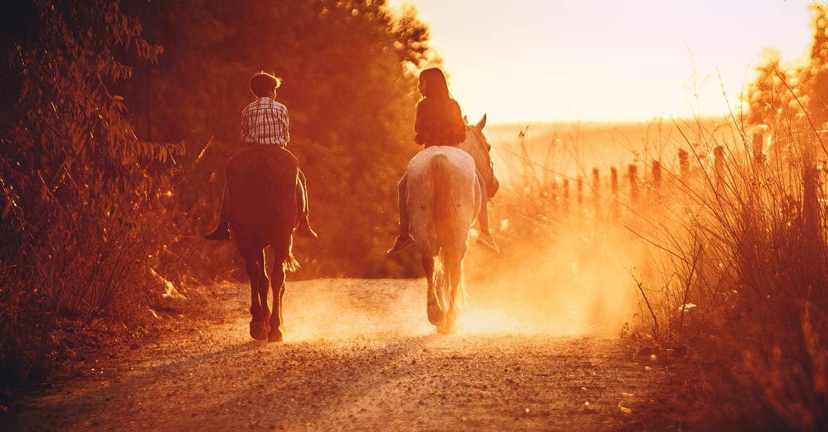 A person riding a horse in front of a sunset